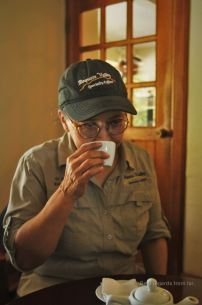 Learning how to taste the Geisha coffee at Cafe Ruiz, Panama