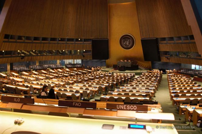 The General Assembly Chamber, the UN HQ, New York City