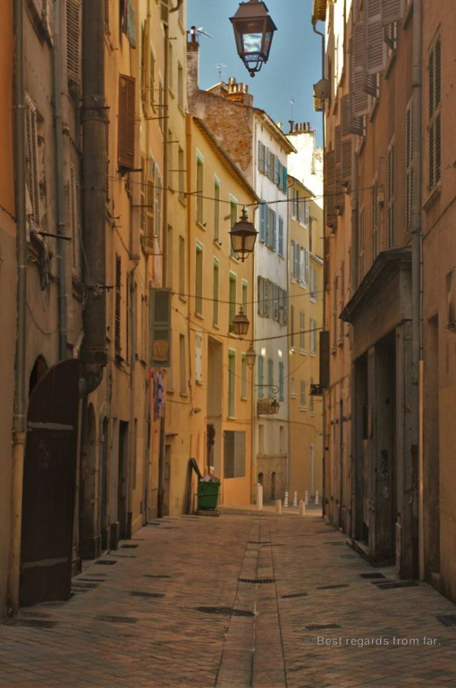 A medieval street in Toulon, French Riviera