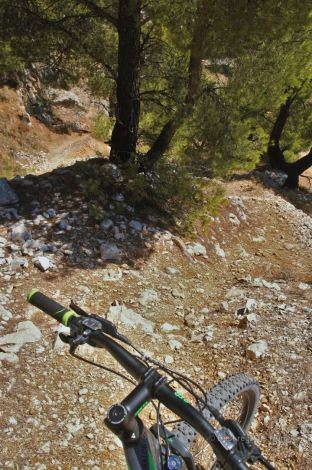 Close-up of the 180° bend on the mountain bike trail of the Mont Faron, Toulon, France.