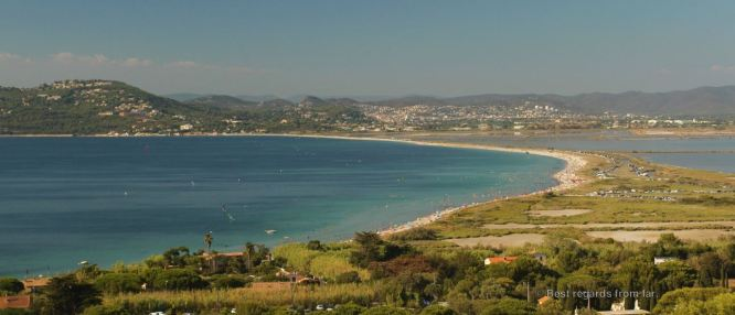 L'Almanarre and the double tombolo leading to the peninsula of Giens, French Riviera