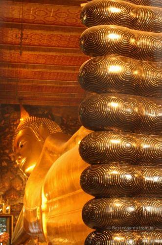 The reclining Buddha and its 3-metre high feet, Wat Pho, Bangkok