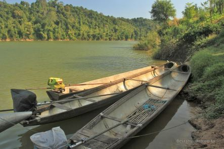 Fuel tanks recycled as bomb boats, Ban Thabak, Laos
