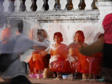 Morning alms rituals in Luang Prabang, Laos