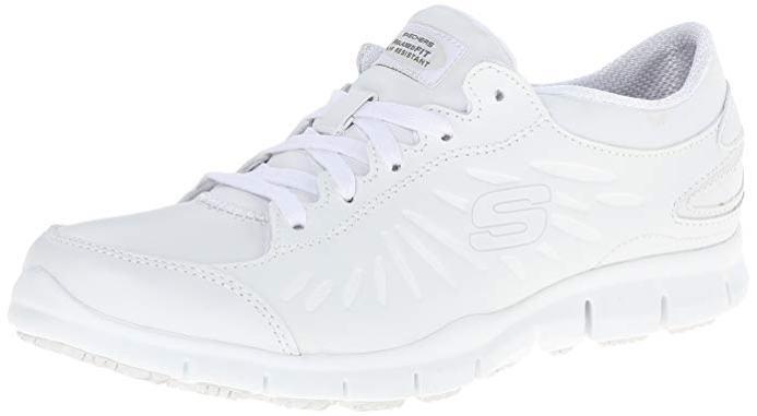 white leather nursing shoes