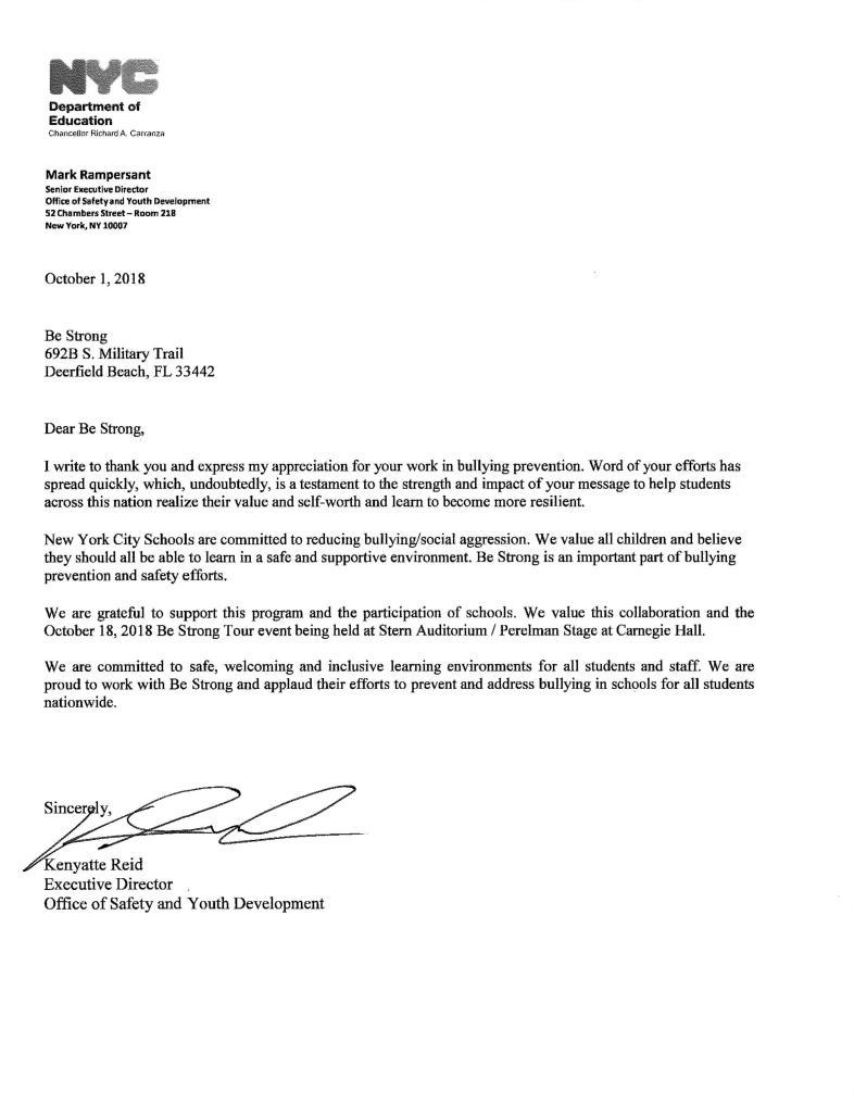 NYC DOE Letter of Support - Kenyatte Reid