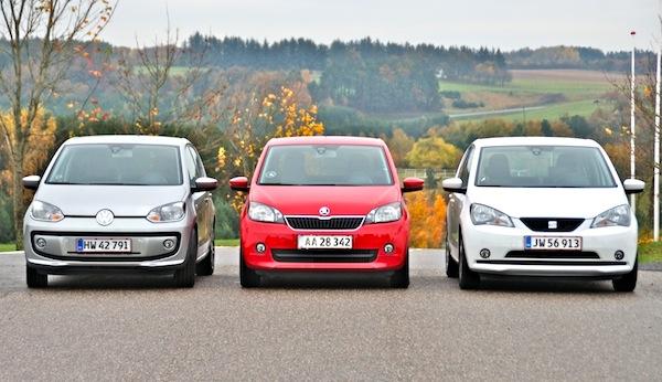 VW Up! Seat Mii Skoda Citigo Denmark February 2013