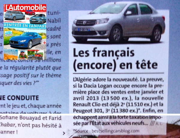 Algeria sales on L'Automobile Magazine August 2013