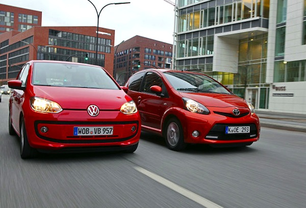 VW Up Toyota Aygo Denmark August 2013. Picture courtesy of autobild.de