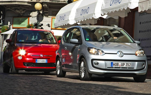 VW Up Fiat 500 Germany December 2013. Picture courtesy of autobild.de