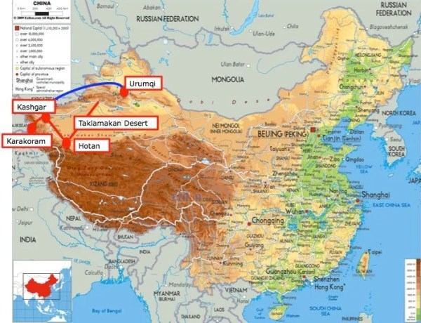 China Map up to Talklamakan