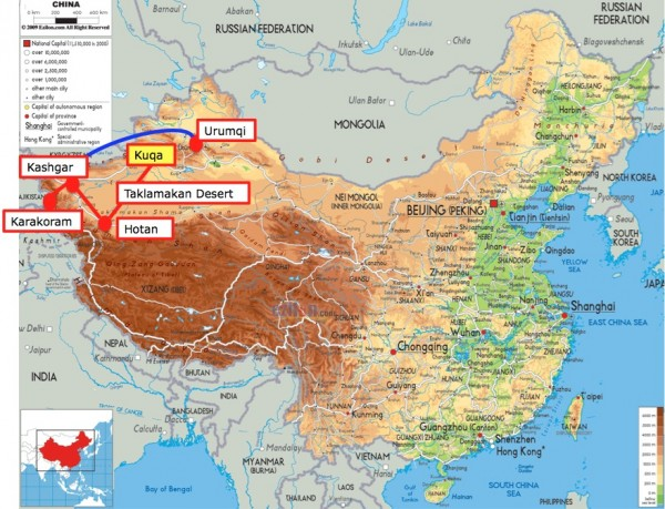 China map up to Kuqa