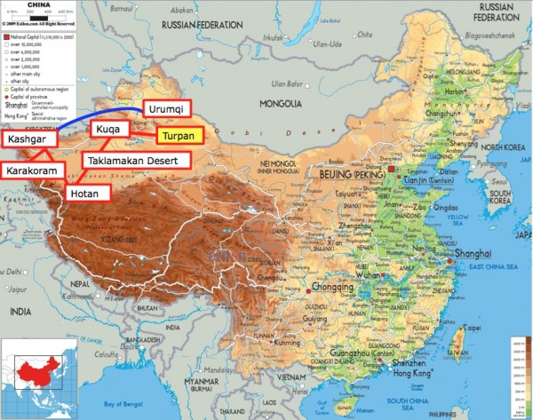 China map up to Turpan