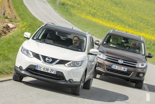 Nissan Qashqai VW Tiguan Spain January 2015. Picture courtesy largus.fr