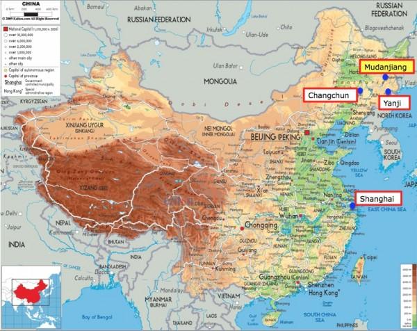 China map with Mudanjiang
