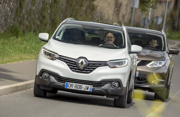 Renault Kadjar Nissan Qashqai France June 2016. Picture courtesy largus.fr