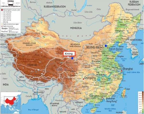 China map Xining