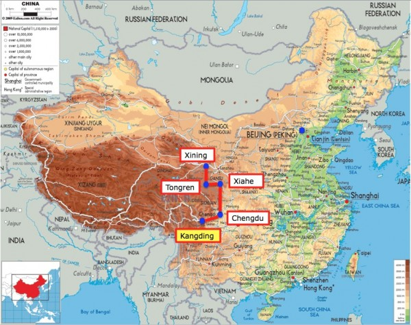 China map with Kangding