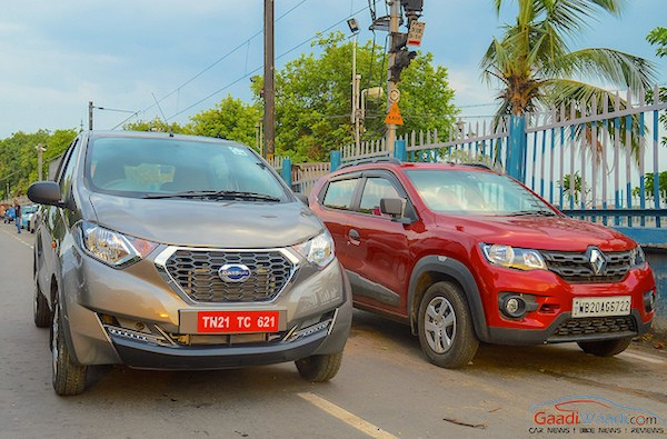Datsun RediGo Renault Kwid India July 2016. Picture courtesy gaadiwaadi.com