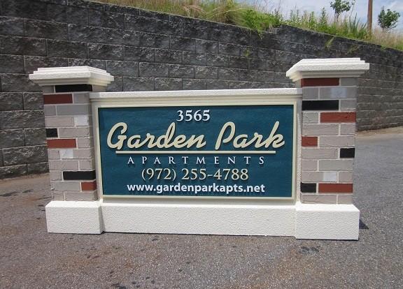 Garden Park Apartment Complex Entrance Sign Monument With Faux Brick Columns