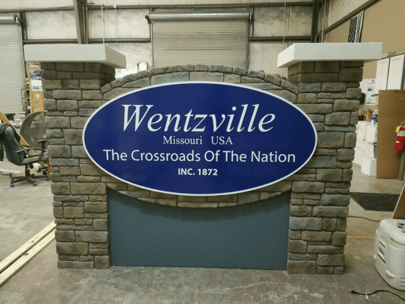 Wentzville, MO break away Cirty entrance sign monument