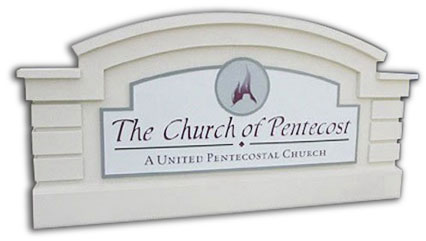 A sign monument model 11 for The Church of Pentecost with embossed graphics.