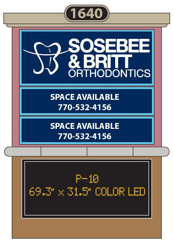 Orthodontist owned multi-tenant sign monument with full-color P-10 electronic LED panels.