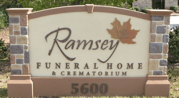 Ramsey Funeral Home & Crematorium Sign Monument