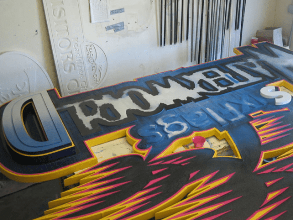 Six Flags Theme Park Waterworn Ride Sign In Production 1 - Theme Park Signs