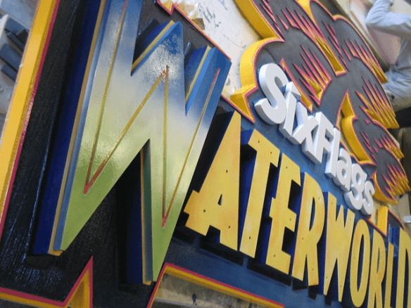 Six Flags Theme Park Waterworn Ride Sign In Production 3