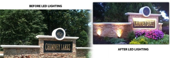 Outdoor Lighted Community Entrance Signs - Chimney Lakes