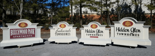 Beechwood Park Tradewinds Townhomes and Hidden Glen Neighborhood Entrance Sign Monuments
