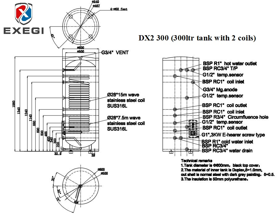 Exegi DX2 300 litre Twin coil stainless steel tank technical specifications showing port locations, port heights and total dimensions.