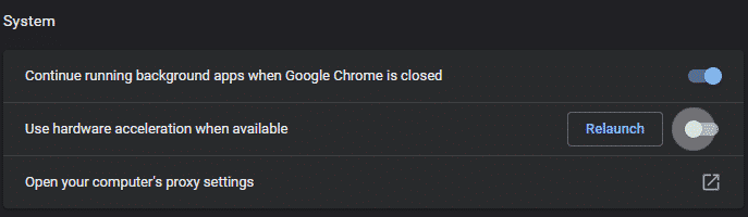 system settings in google chrome