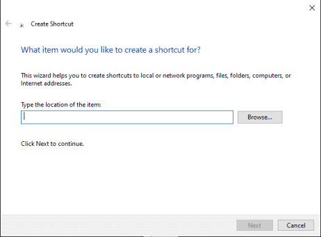 what item would you like to create a shortcut for