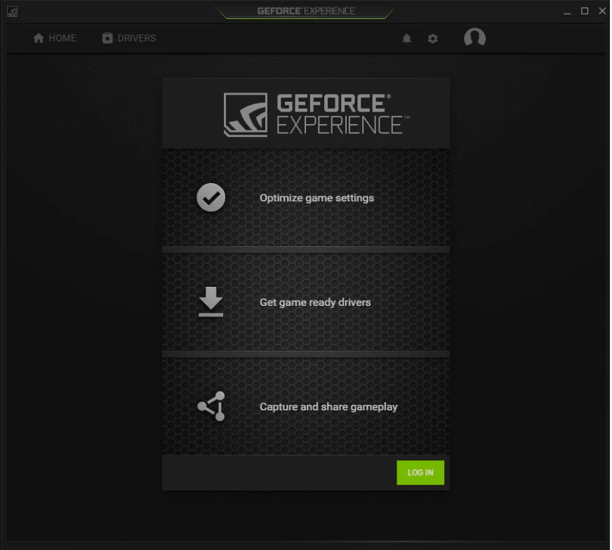 GeForce experience interface