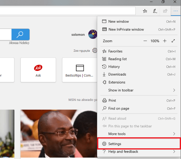 accessing settings in microsoft edge