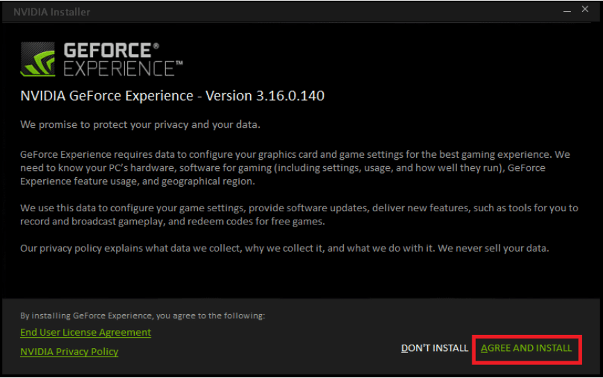 GeForce experience terms and conditions