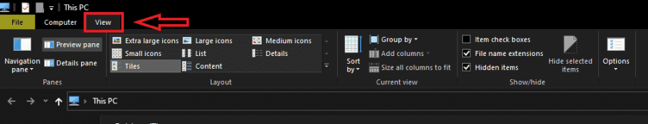 file explorer view tab