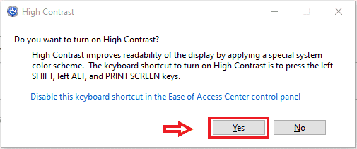 yes turn on high contrast