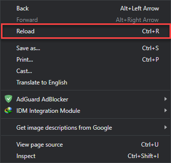 reload browser with right click