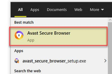 Avast Secure Browser in windows search result
