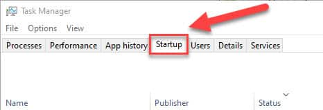 Startup tab in task manager