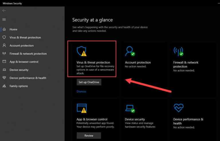 Virus and threat protection in windows settings