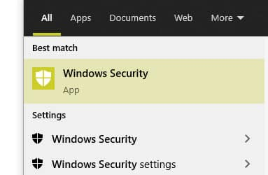 window security in windows search result