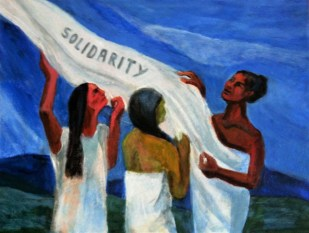 "Solidarity artwork - painting image showing a blue background with three figures wearing white, with one figures white dress unfurling to a cloth that says ""SOLIDARITY"" that all the figures hold above their heads"