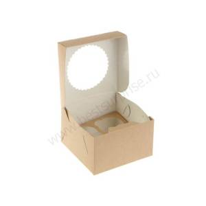 Упаковка (коробка) для капкейков и маффинов (4 места) (160x160x100 мм.)