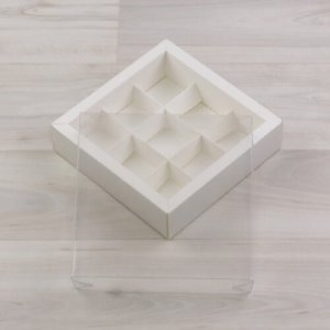 Упаковка (коробка) для 9 конфет с прозрачной крышкой, 5 шт.