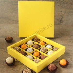 "Упаковка (коробка) для 9 конфет ""Желтый"", 5 шт."