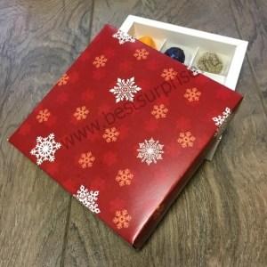 """Упаковка (коробка) для 16 конфет с красной крышкой """"С Новым годом"""", 5 шт."""